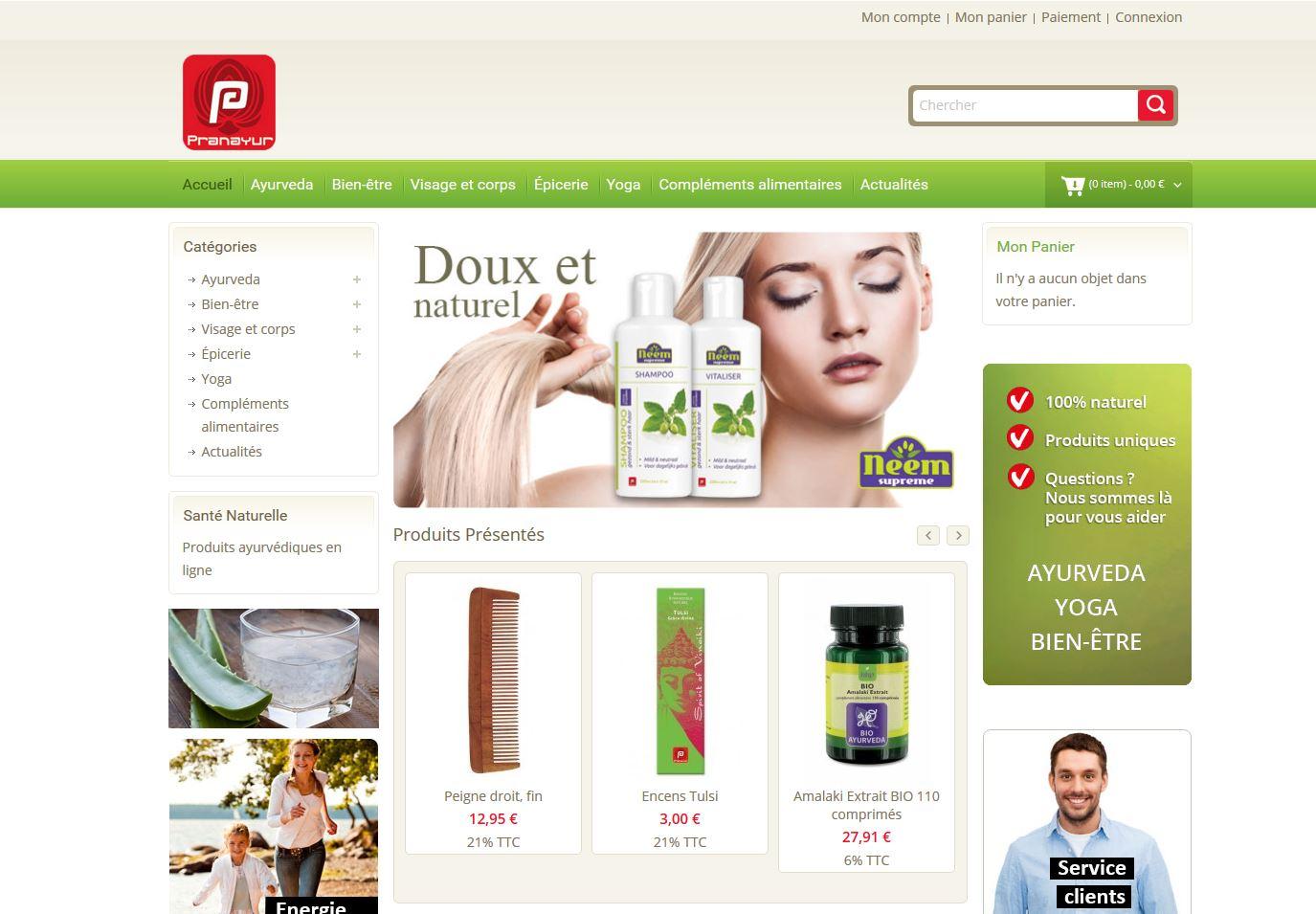 pranayur.fr boutique en ligne webshop jules dorval