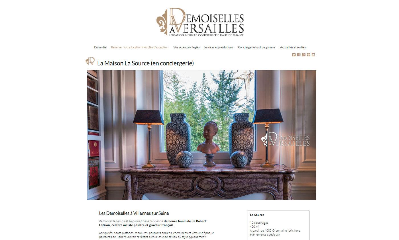 Jules Dorval, Le Demoiselles à Versailles, site de location saisonnière, maison la source